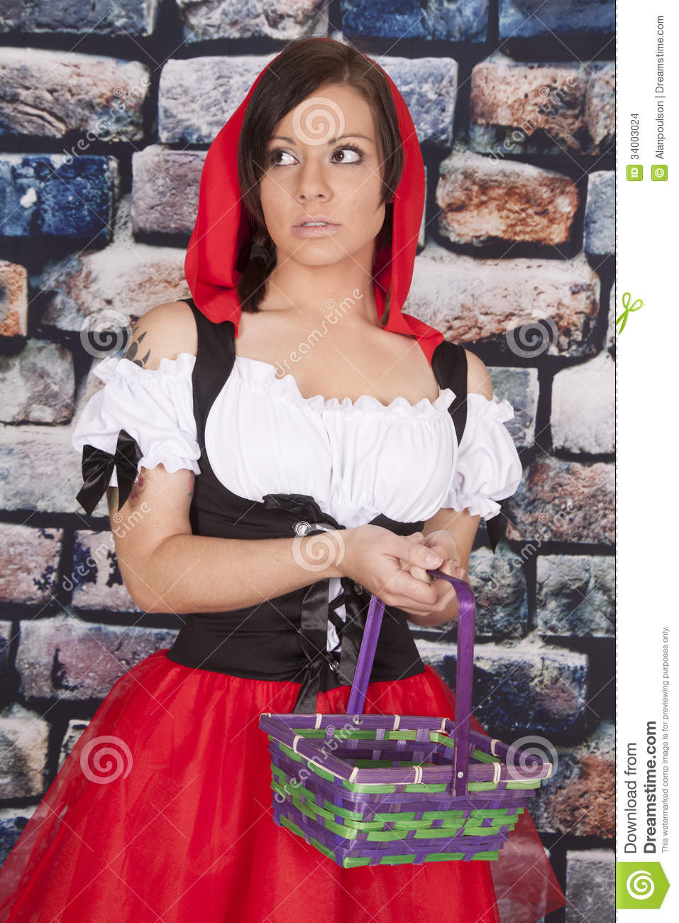 Woman red riding hood basket look scared