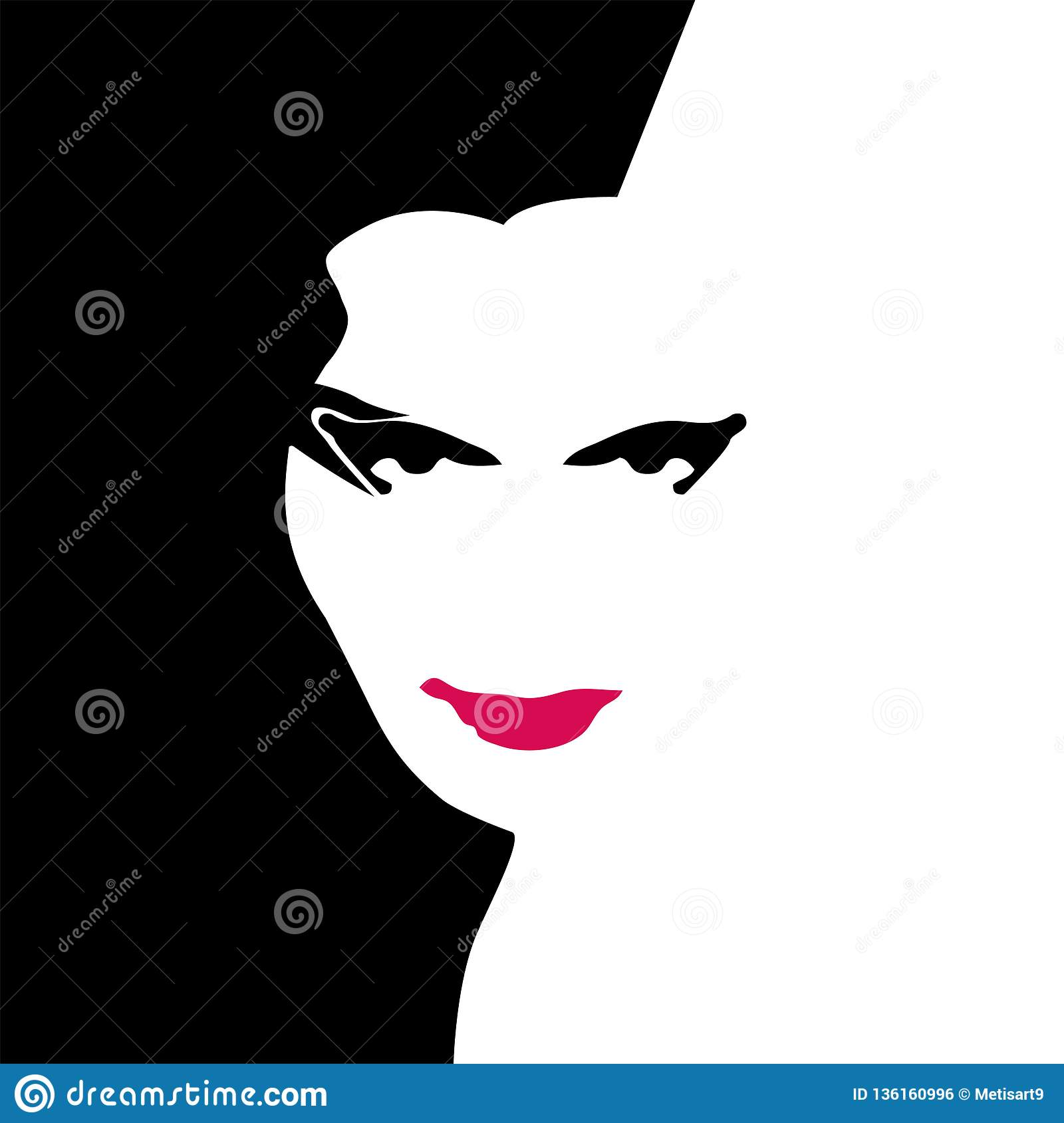Woman In Red Stock Vector Illustration Of Mouth Face 136160996