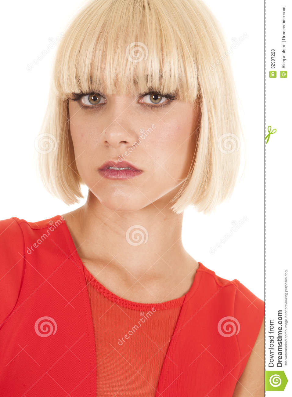 Woman Red Top Serious Expression Stock Photo