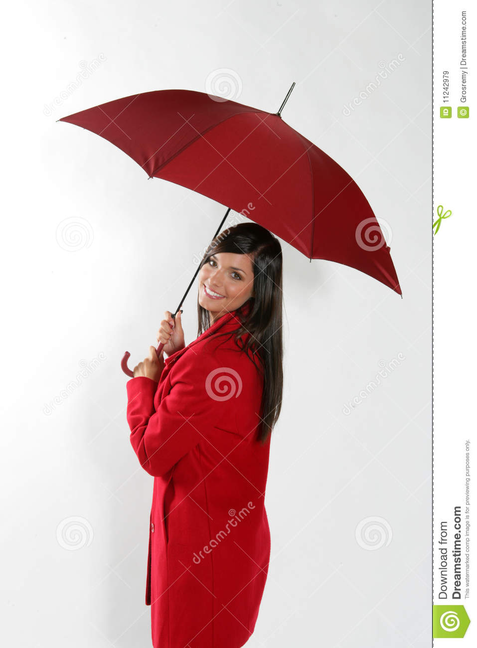 Woman With Red Umbrella Stock Image Image Of Pose Cute 11242979