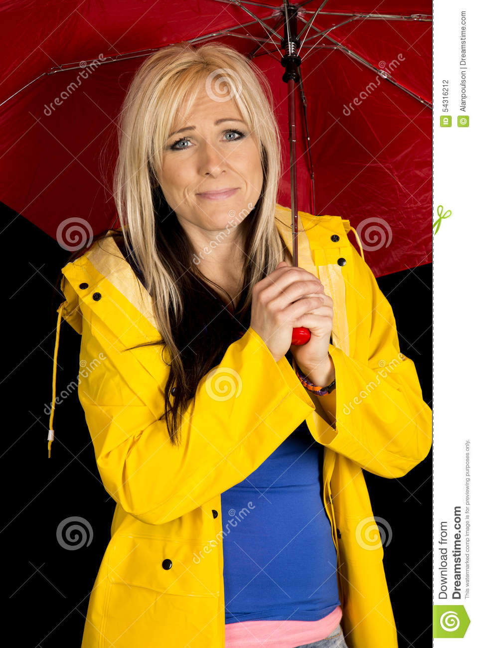 Woman red umbrella and yellow jacket funny expression