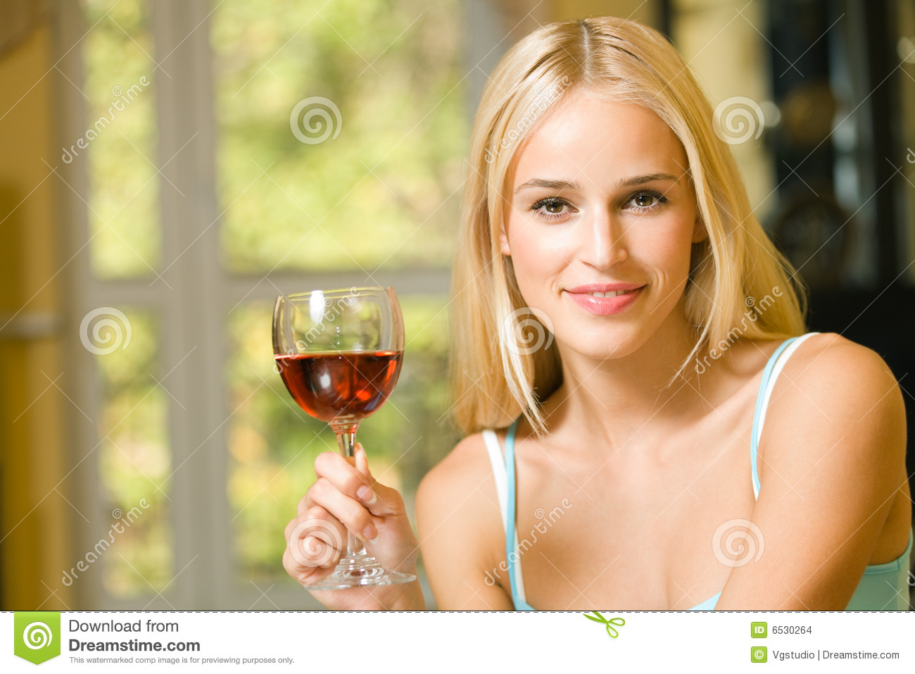 Woman With Red-wine Glass Stock Images - Image: 6530264