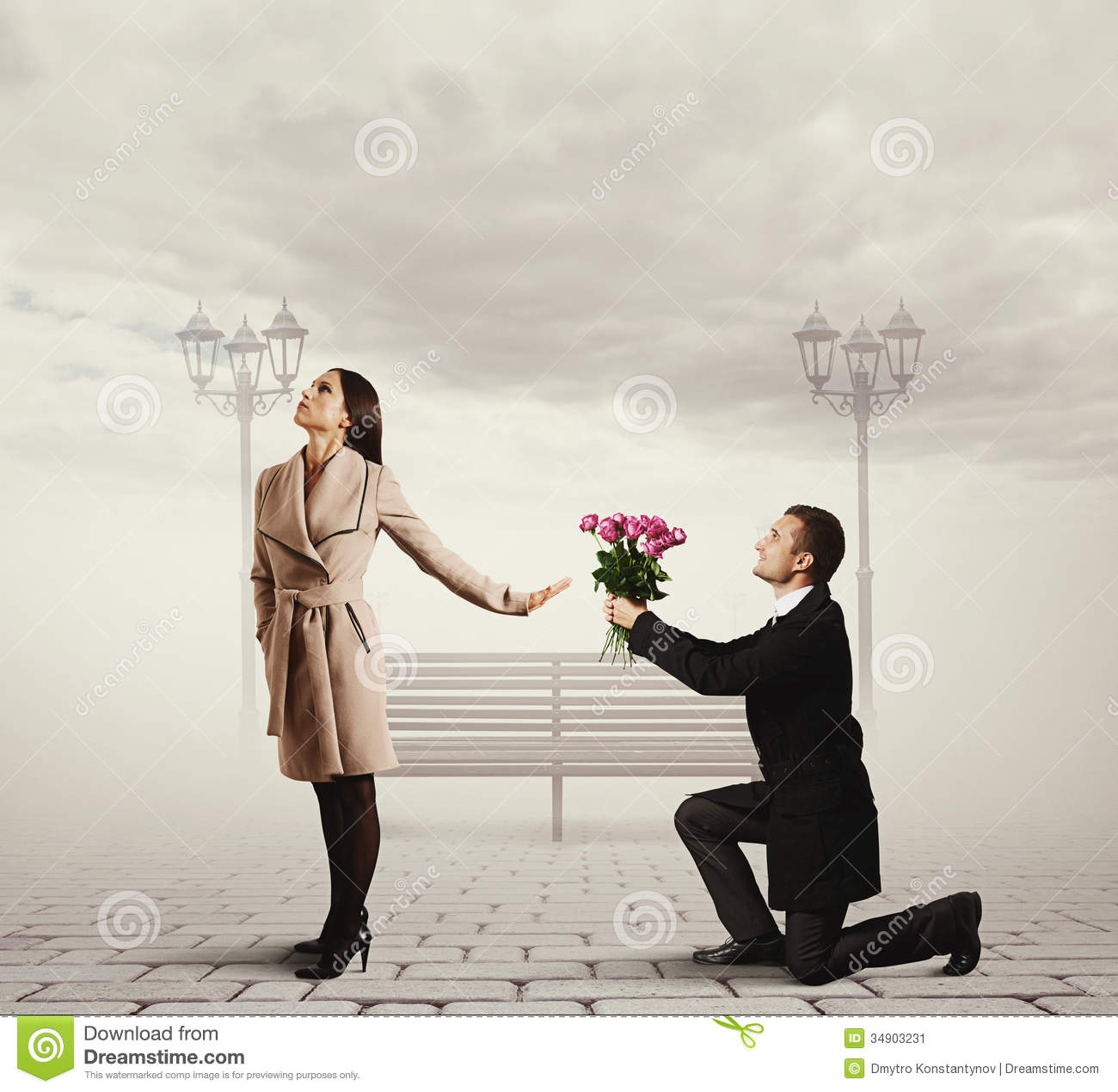 Woman Rejecting Man With Flowers Stock Image - Image: 34903231