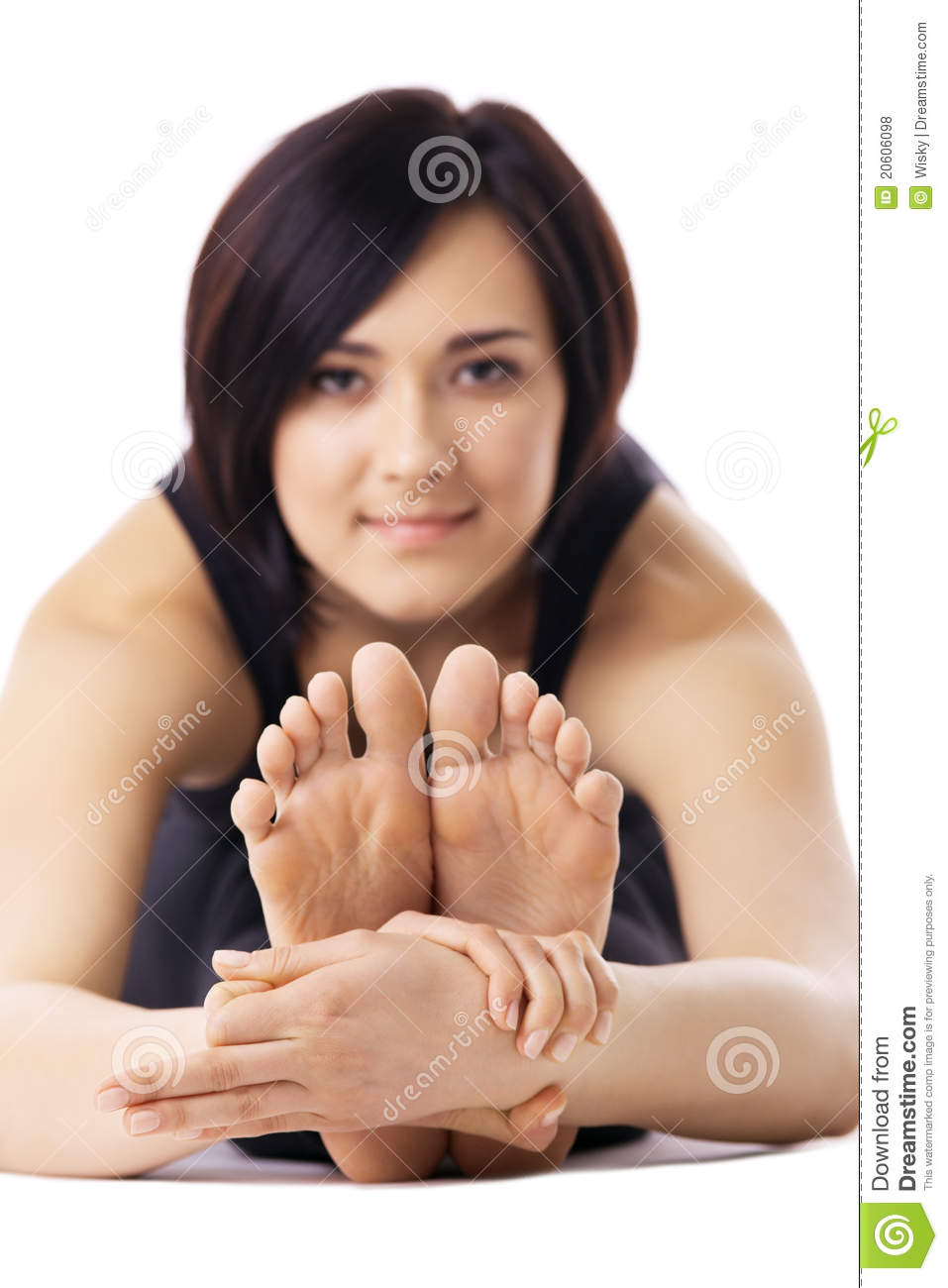 Woman Relaxed In Yoga Pose - Focus On Fingers Sign Royalty ...