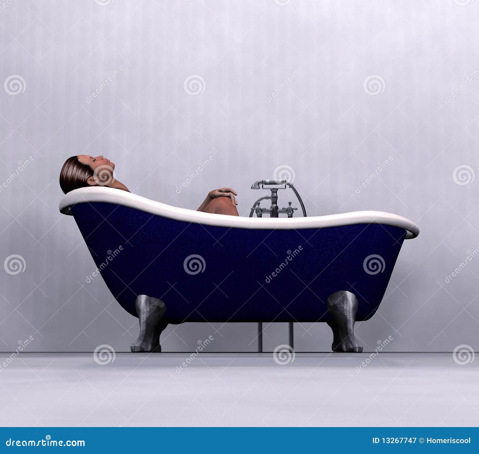 Woman relaxing in bathtub stock illustration. Illustration of ...