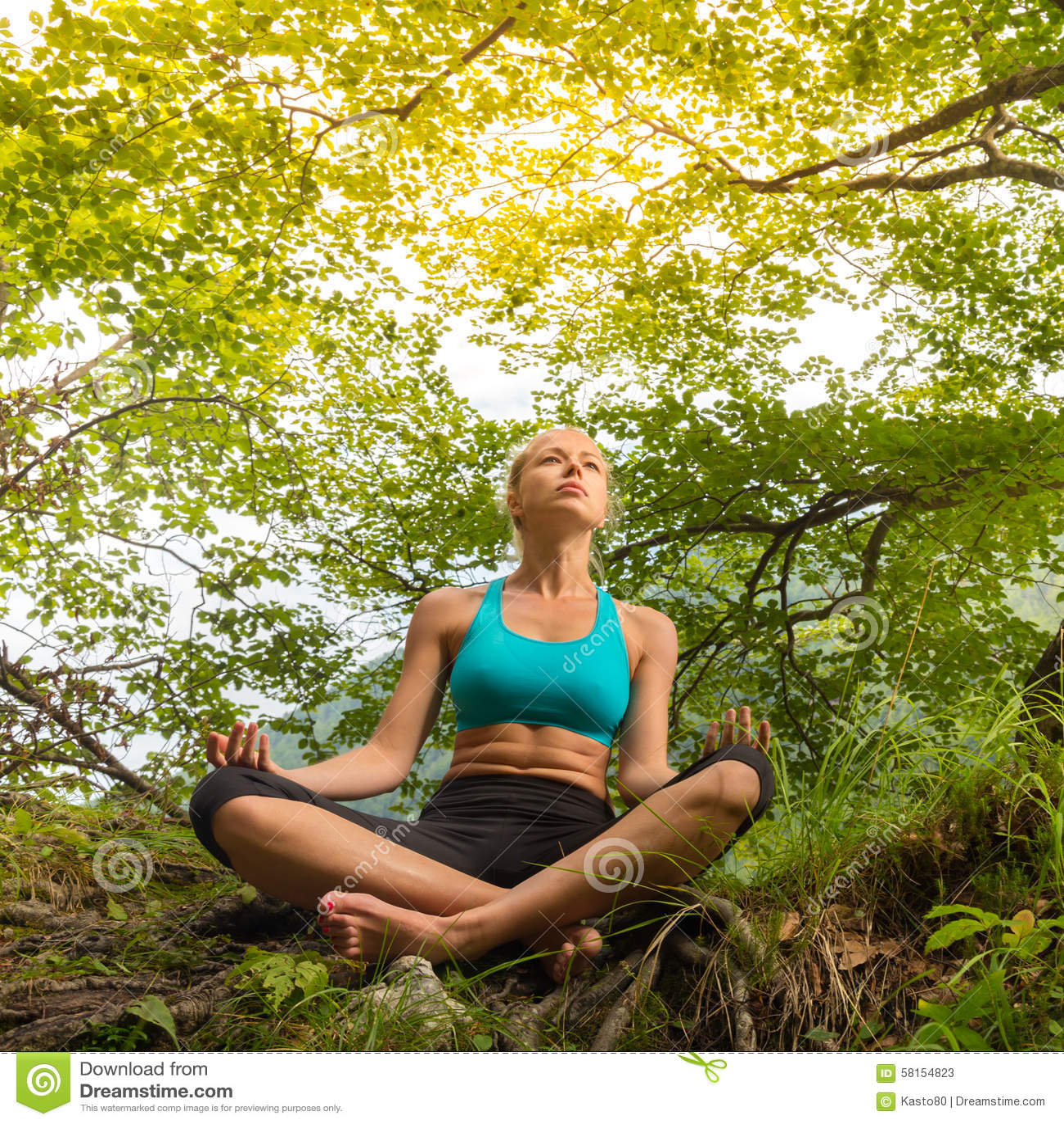 Woman Relaxing In Beautiful Nature. Stock Photo