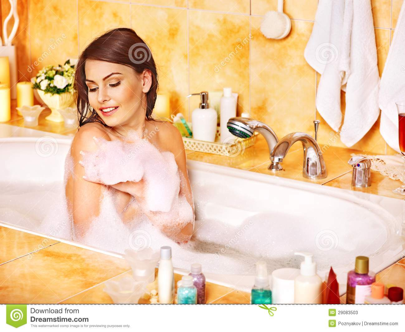 Woman Relaxing At Bubble Bath Stock Image Image 29083503
