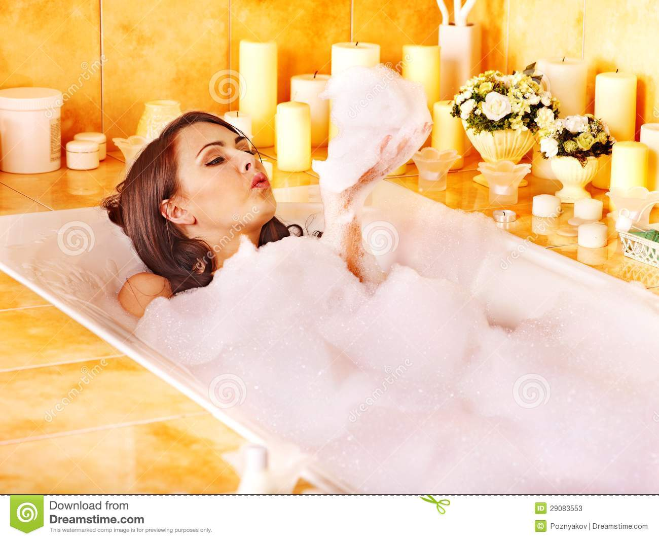 Woman Relaxing At Bubble Bath. Stock Photos - Image: 29083553