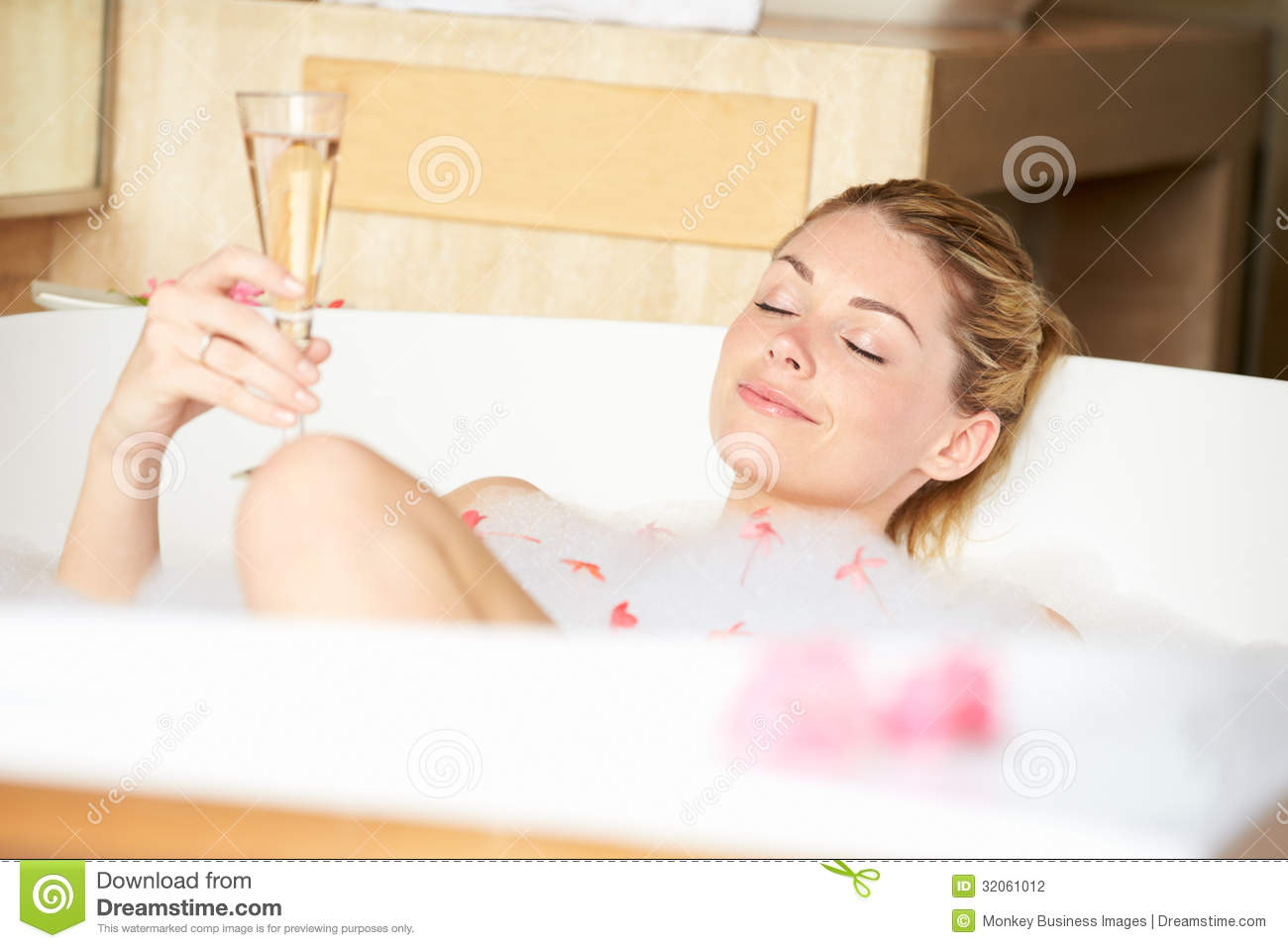 Woman Relaxing In Bubble Bath Stock Photo Image Of Eyes