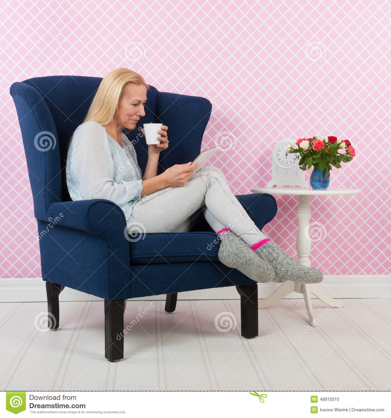 Woman Relaxing In Chair Stock Photo Image 48910510