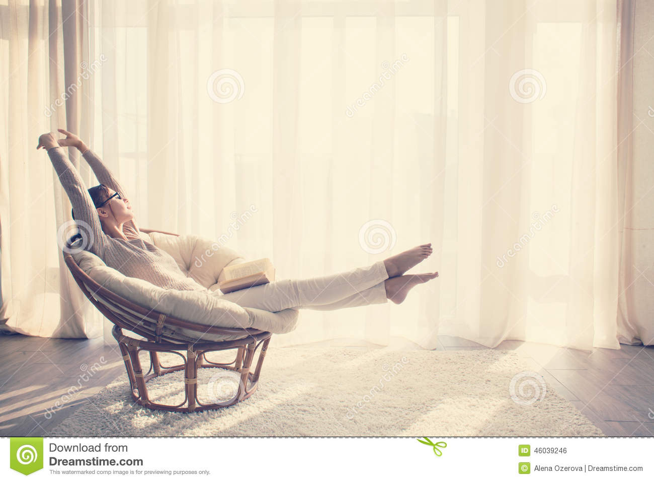Woman relaxing in chair stock photo image 46039246 for Modern sitting chairs