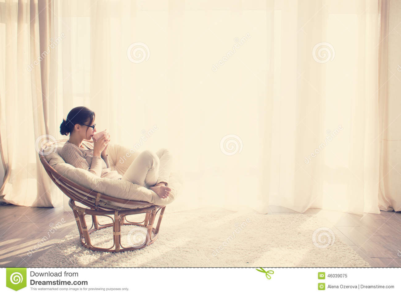 Woman Relaxing In Chair Stock Image Image Of Interior 46039075