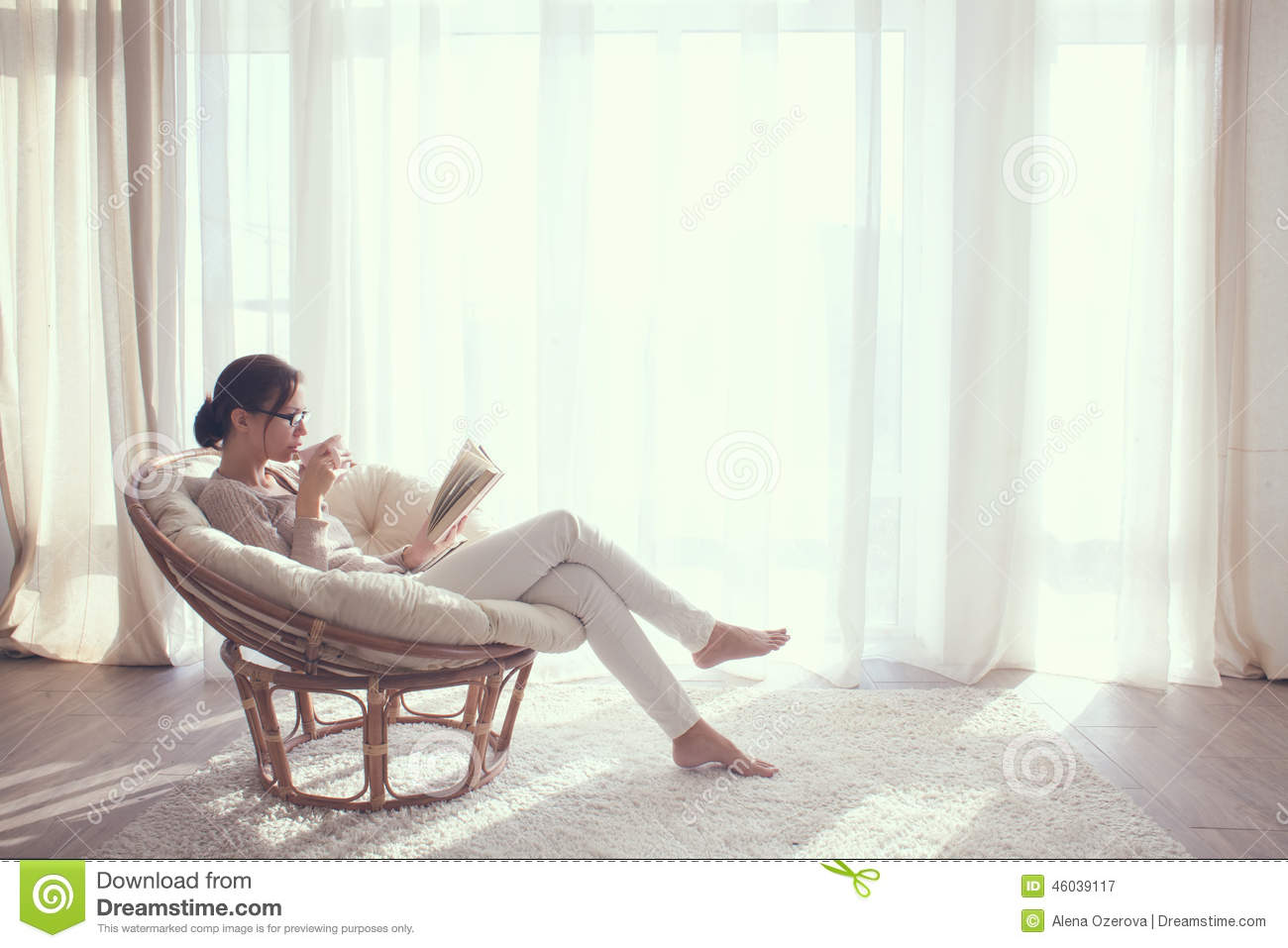 Woman Relaxing In Chair Stock Image Image Of Apartment