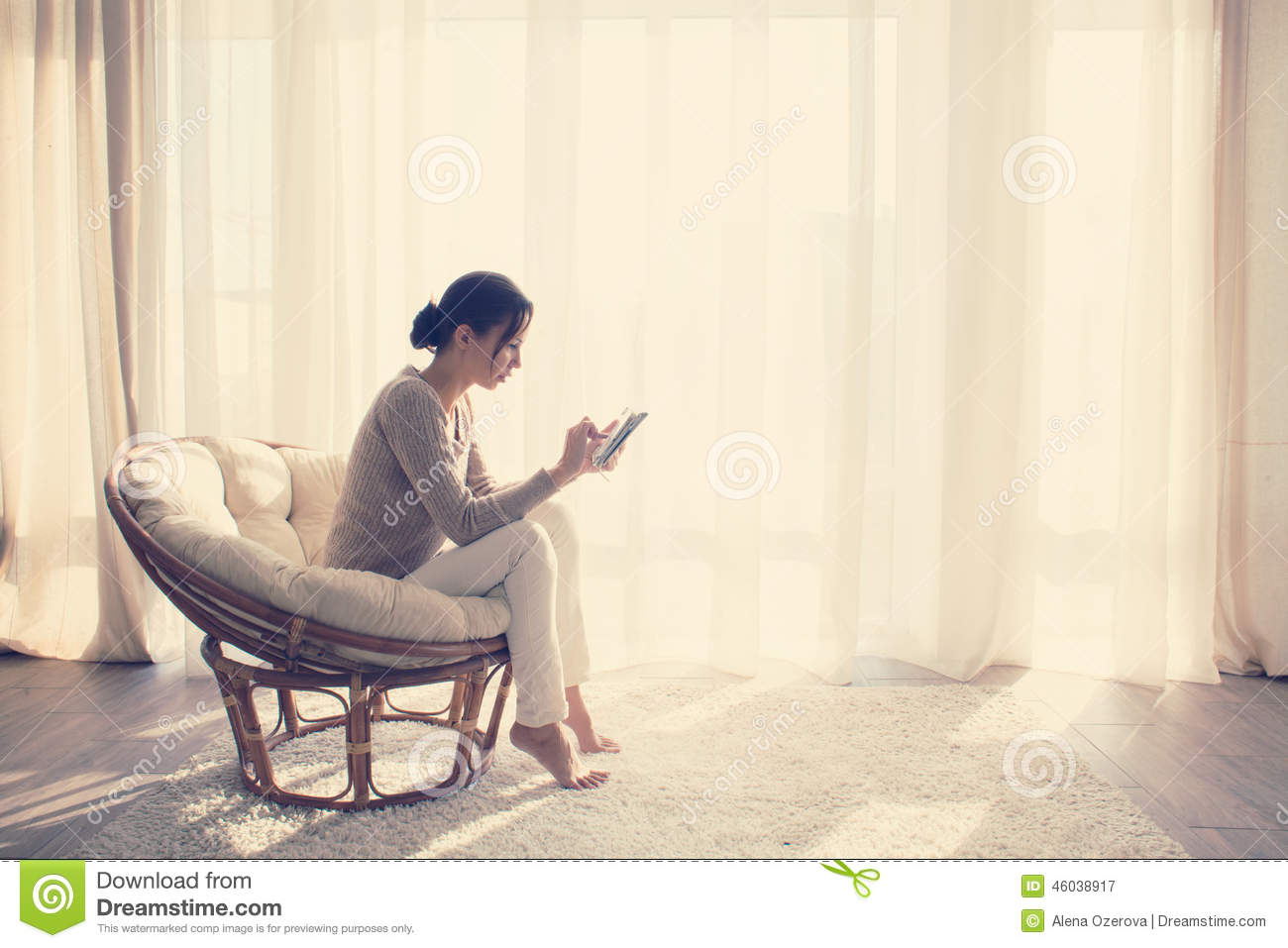 Woman Relaxing In Chair Stock Image Image Of Armchair