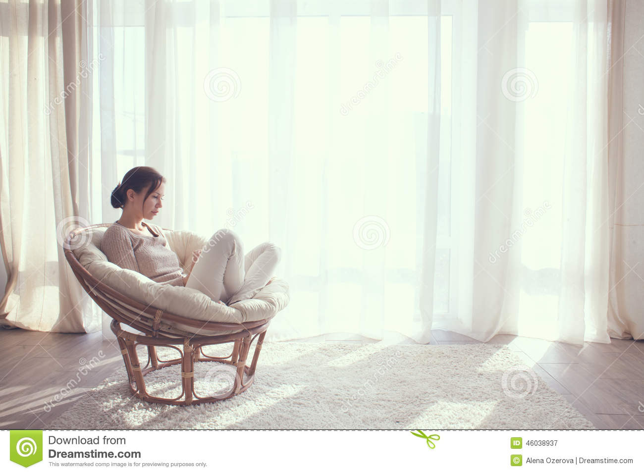 Woman Relaxing In Chair Stock Photo Image 46038937