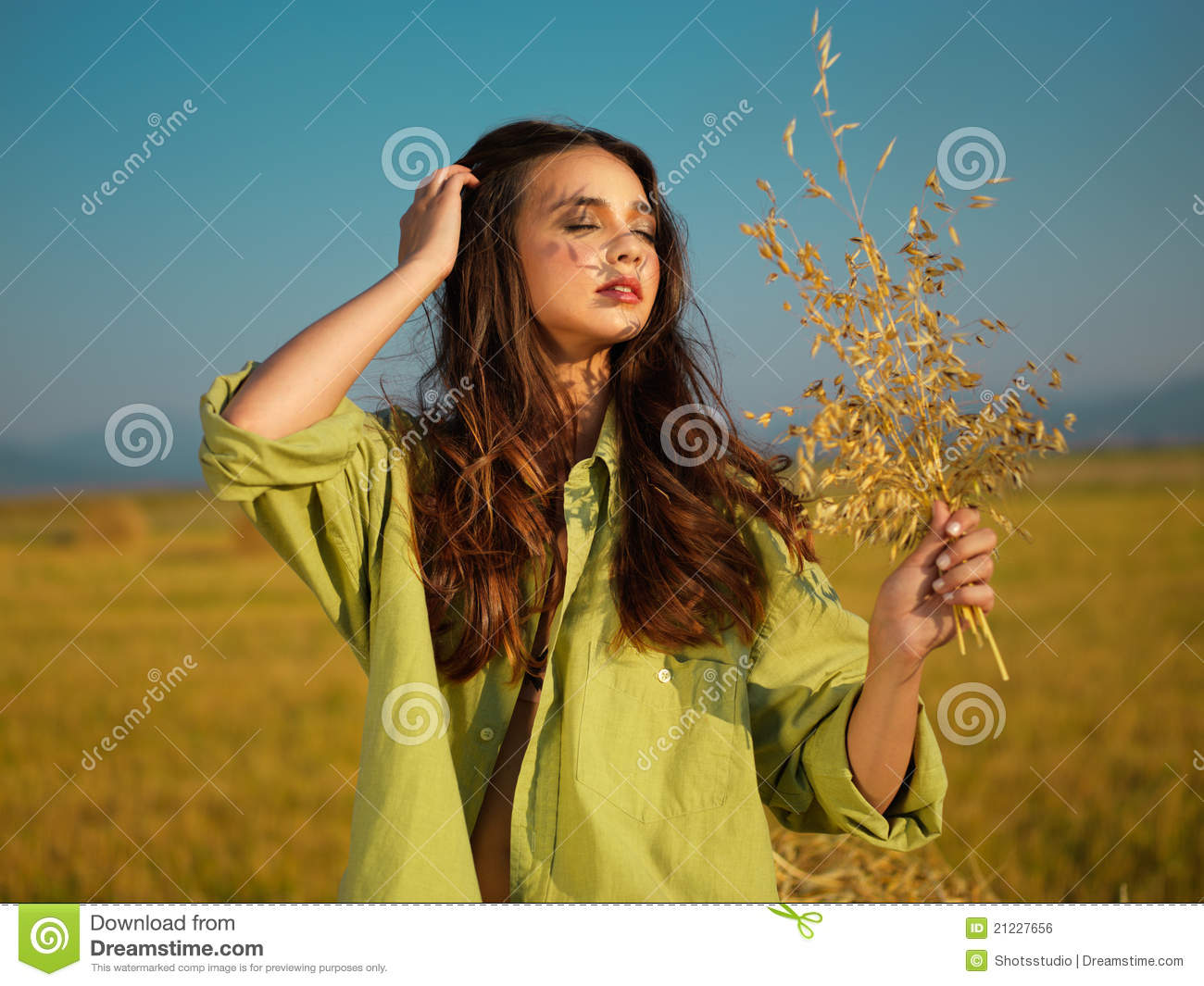 Woman Relaxing In Corn Field Royalty Free Stock Image ...