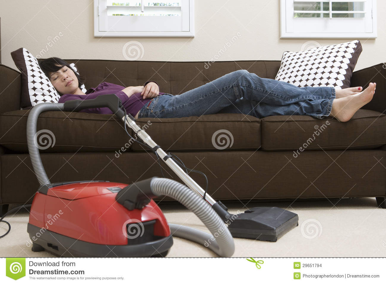 Woman Relaxing On Couch With Vacuum Cleaner Stock Images  : woman relaxing couch vacuum cleaner 29651794 from www.dreamstime.com size 1300 x 957 jpeg 130kB
