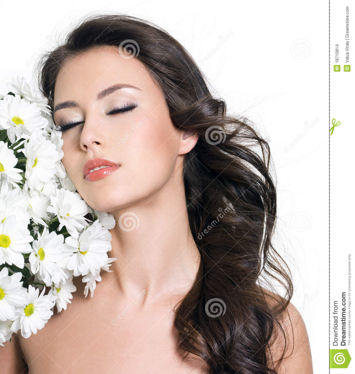 Woman relaxing with flowers