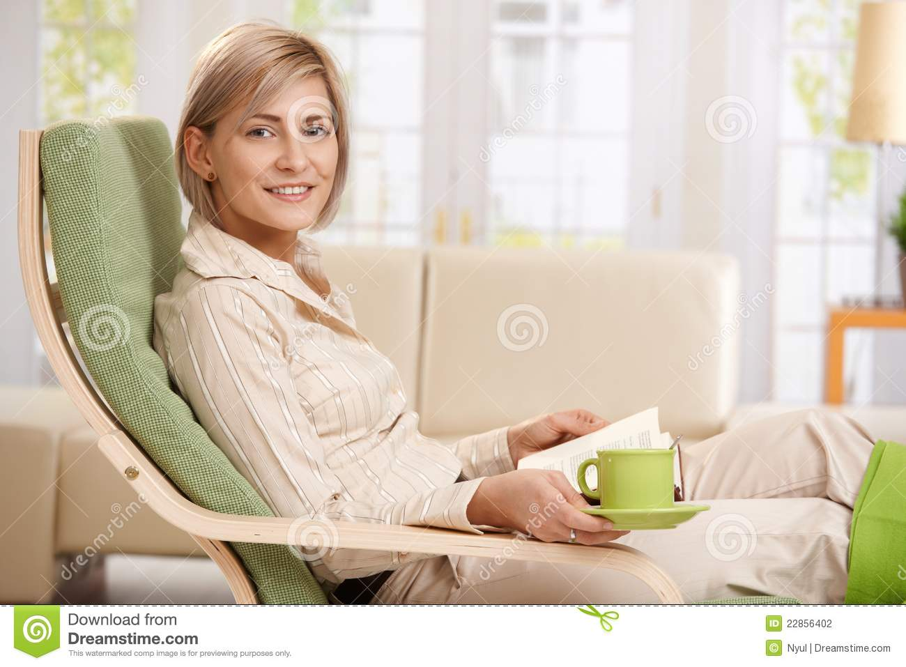Woman Relaxing At Home Stock Photography Image 22856402