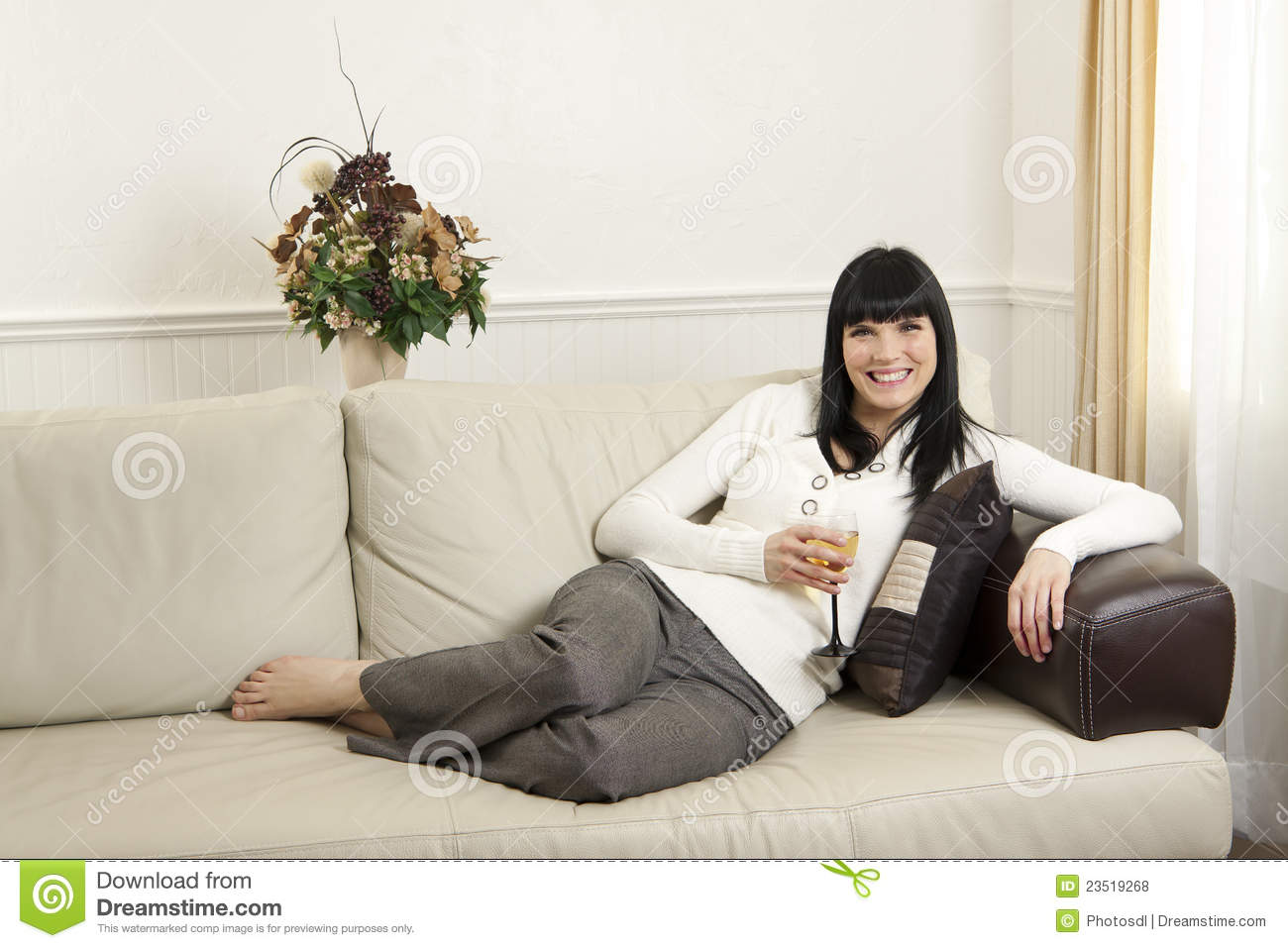 Woman Relaxing At Home Royalty Free Stock Photos Image