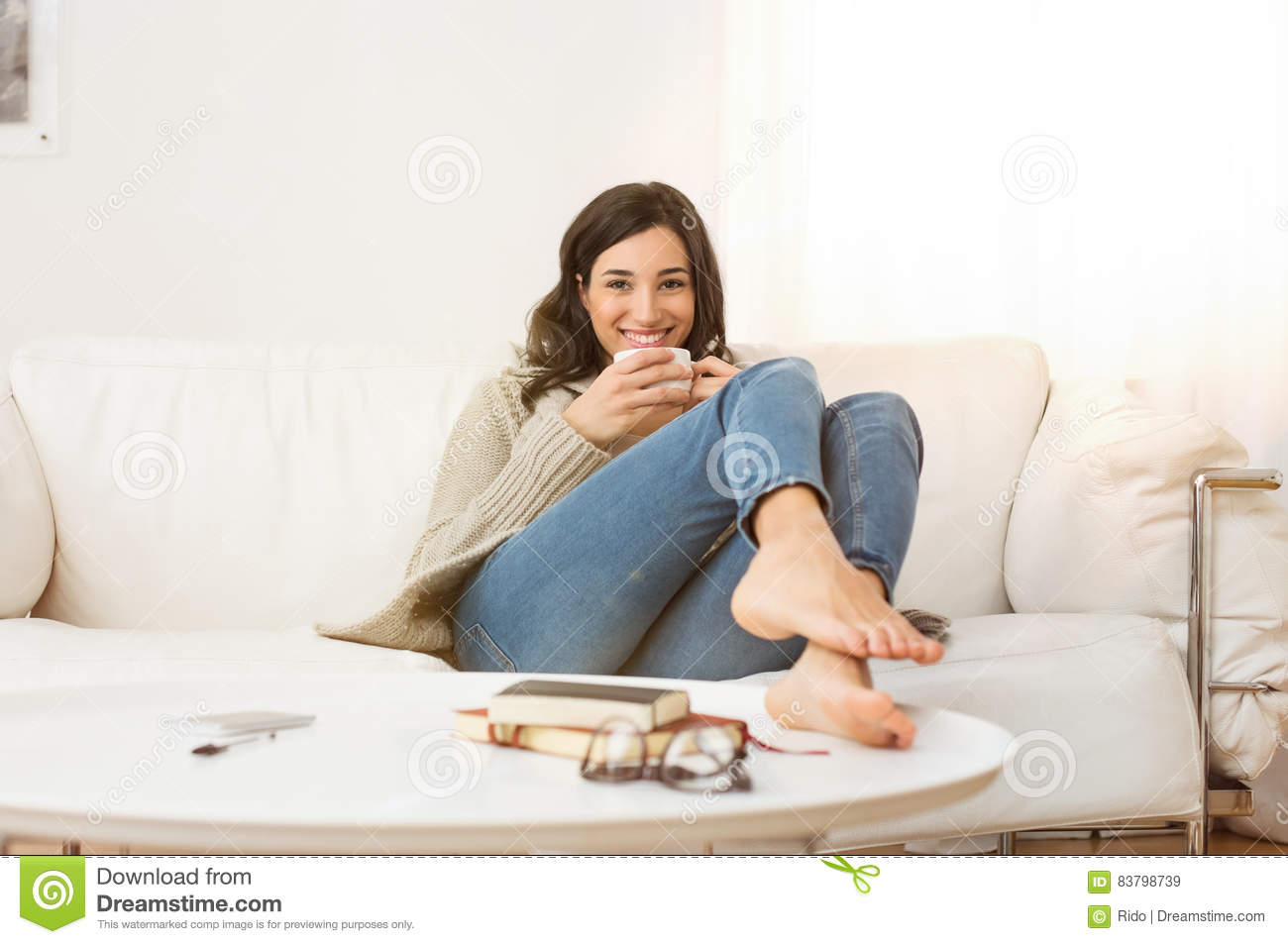 woman relaxing at home stock image image of winter. Black Bedroom Furniture Sets. Home Design Ideas