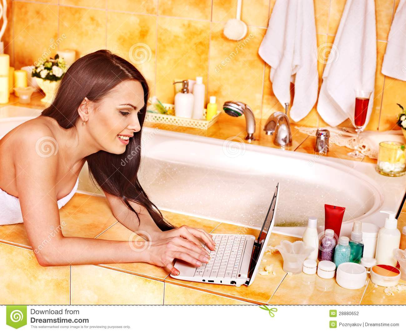 Woman Relaxing At Home Luxury Bath Stock Photography