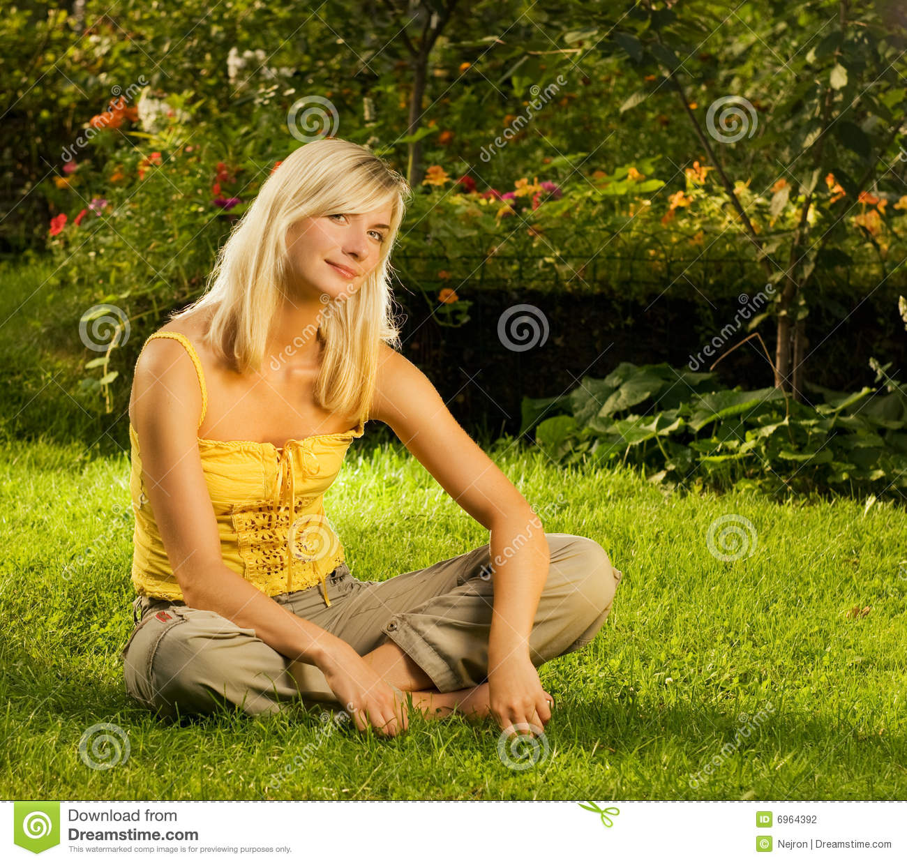 Woman Relaxing Outdoors Stock Photo. Image Of Park