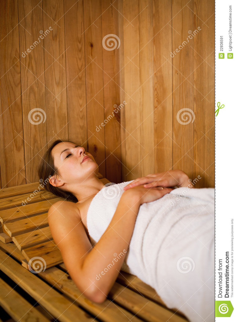 Woman Relaxing In A Sauna Stock Image - Image 22836591-3271