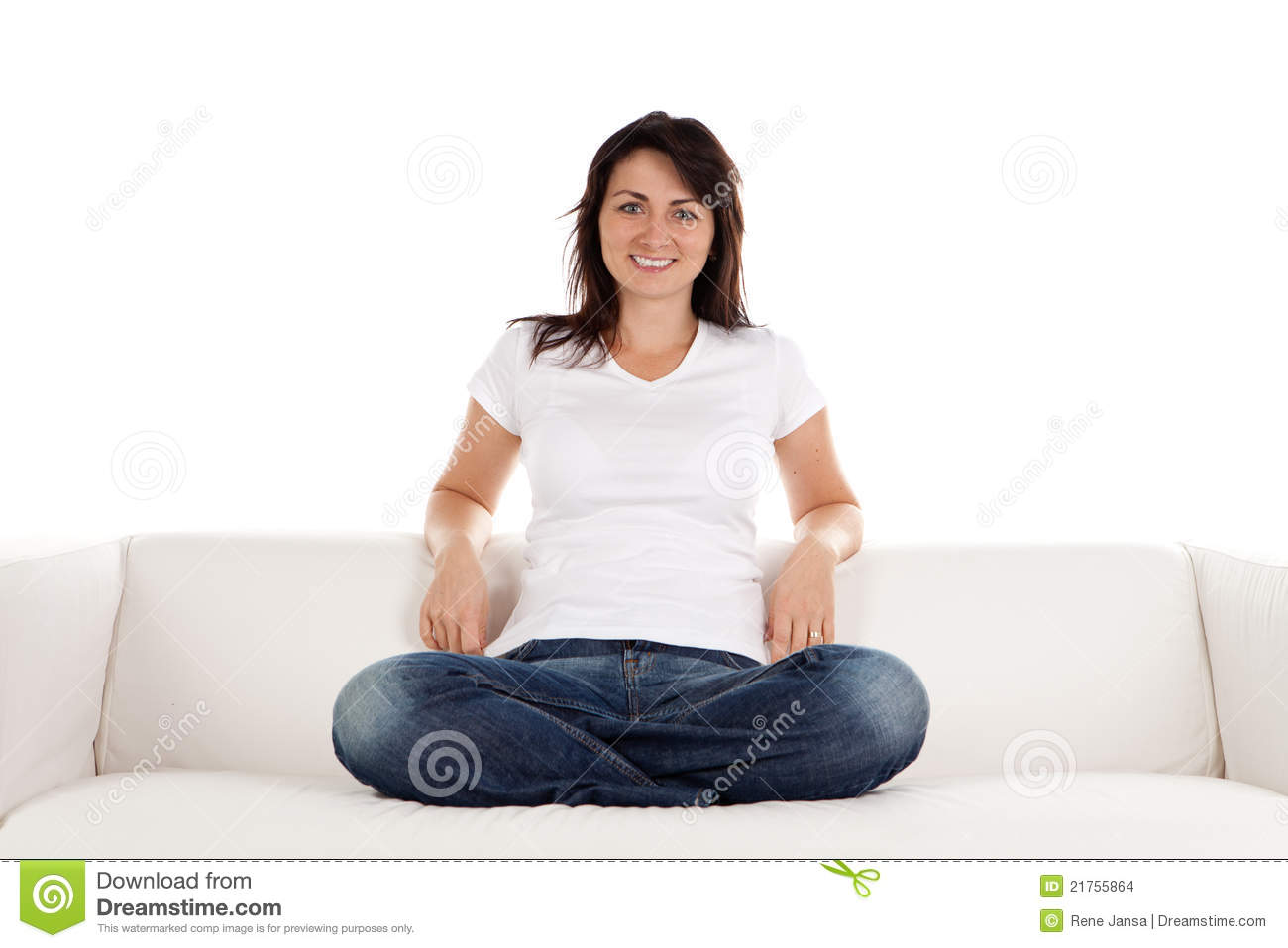 Woman Relaxing On Sofa Stock Photo Image Of Settee Jeans