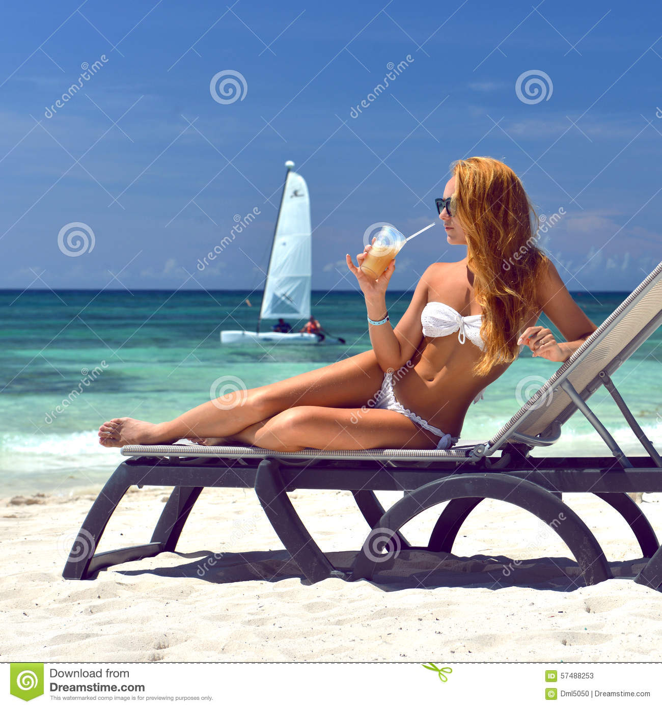 woman relaxing tropical sea beach alcohol cocktail pina. Black Bedroom Furniture Sets. Home Design Ideas