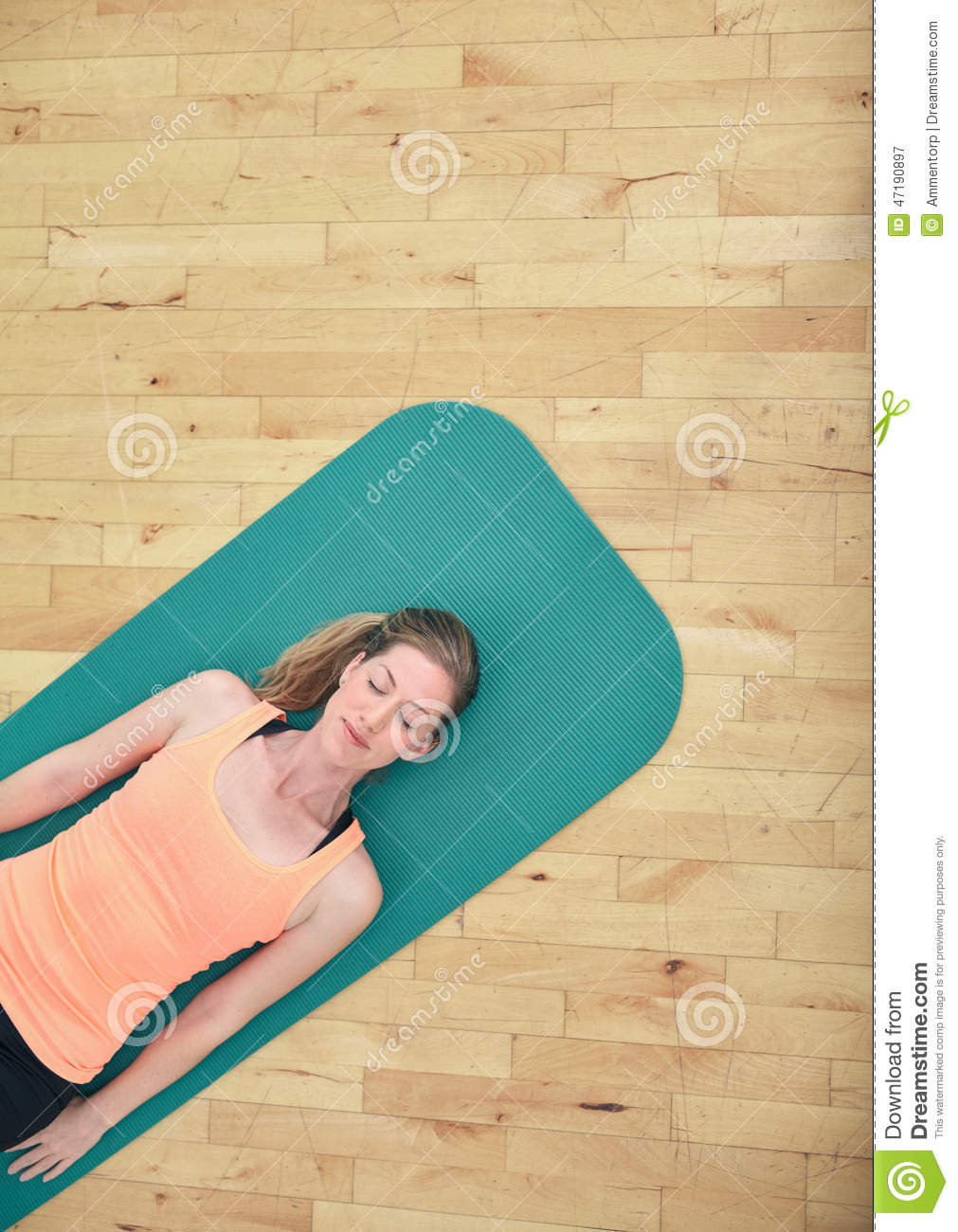 Woman Relaxing On Yoga Mat Stock Photo Image 47190897