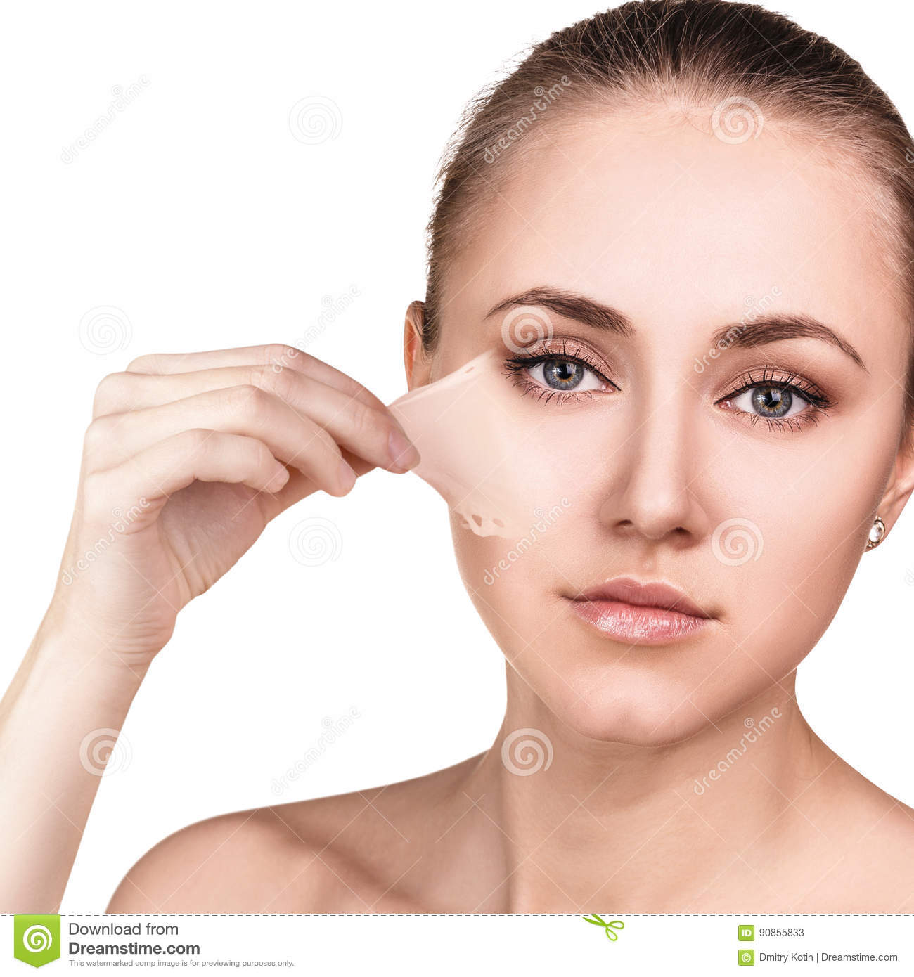 woman remove her old dry skin from face. stock image - image of