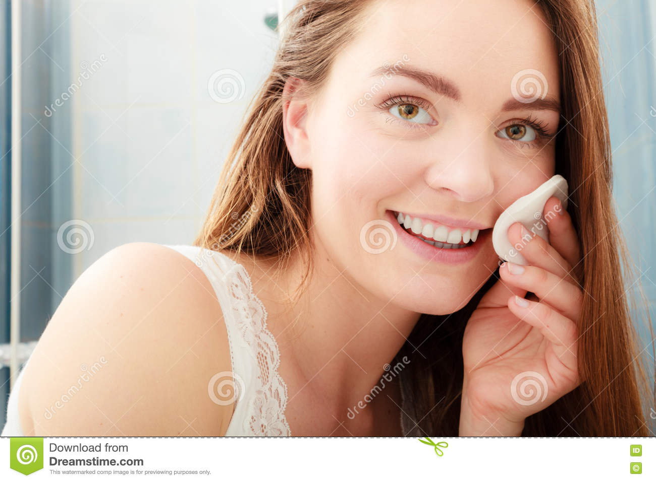 Woman Removing Makeup With Cotton Swab Pad. Stock ...