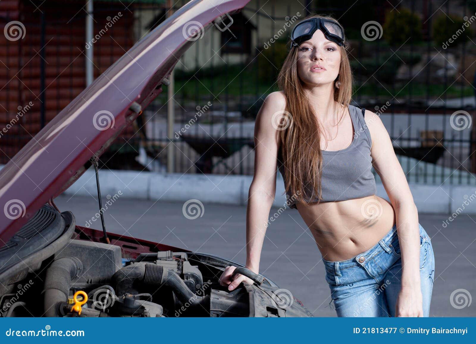 Woman Repair Car Stock Image Image Of Repair Emergency