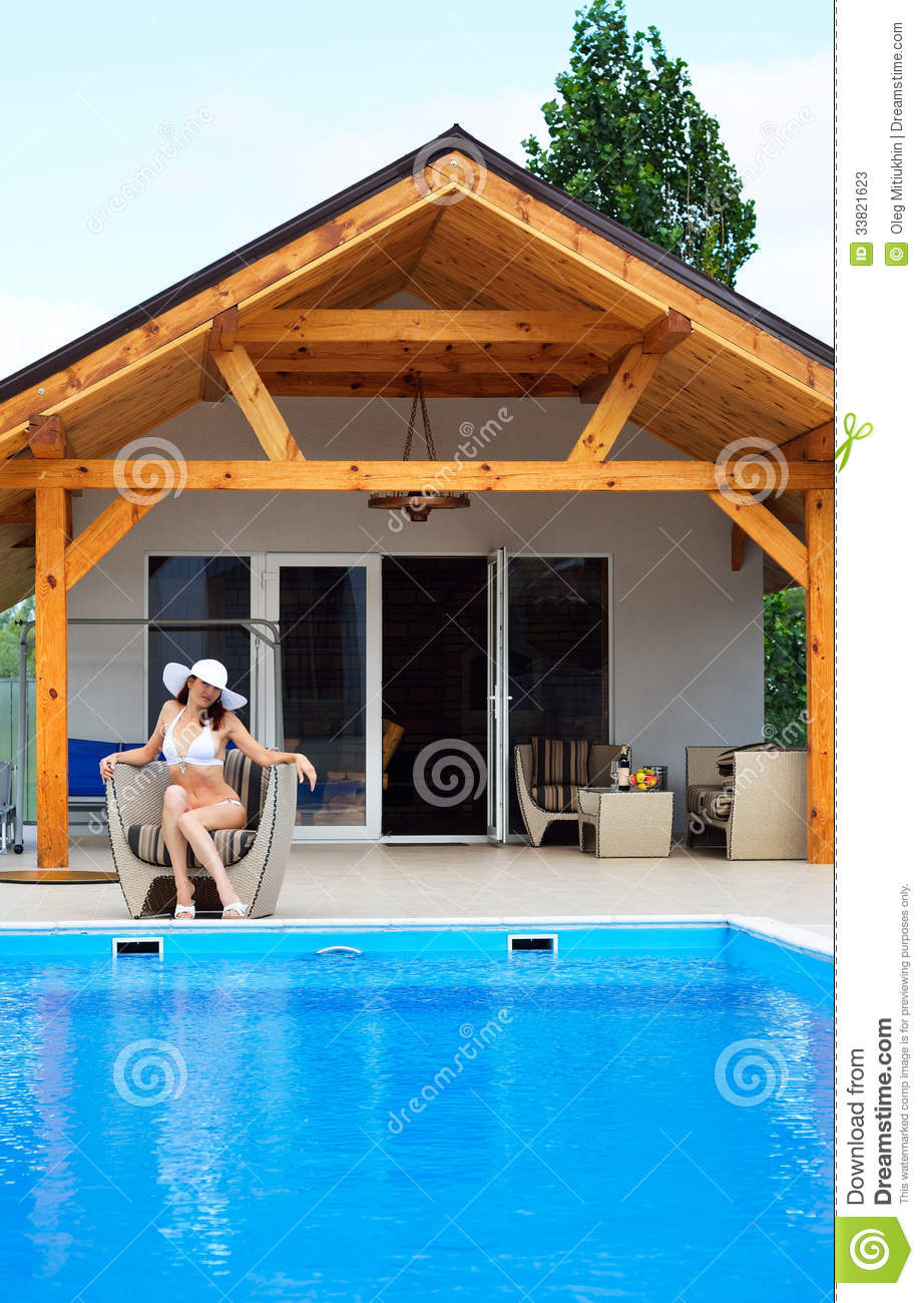 Woman Resting At The Pool Stock Photos Image 33821623