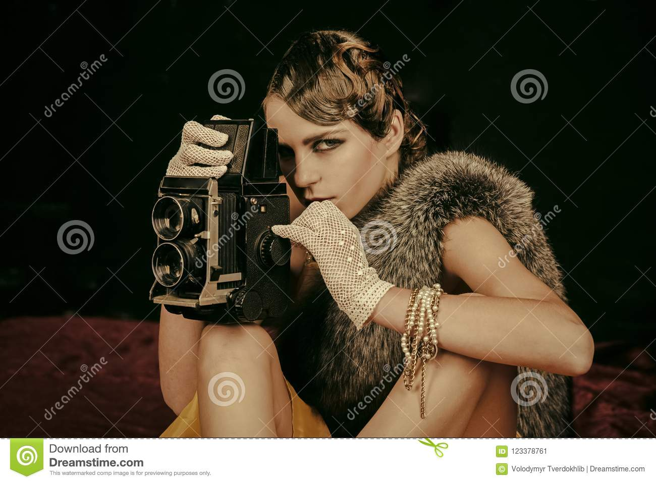 Woman With Retro Hair Makeup And Old Camera Stock Image Image Of