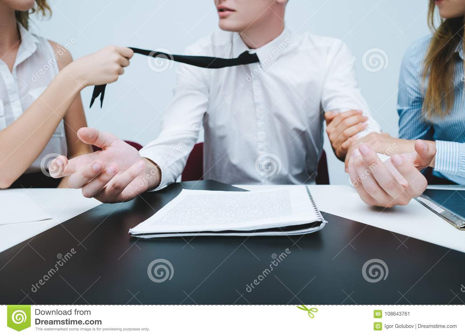 Woman Revalry Seducing Boss Office Stock Image - Image of crop
