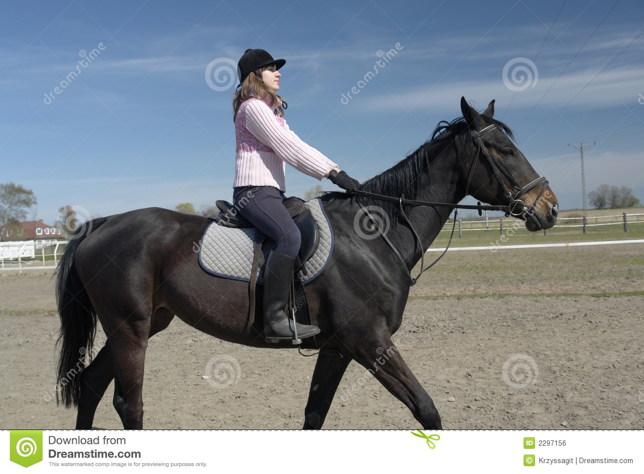 Woman Riding Horse Stock Photo Image Of Horse Equestrienne 2297156
