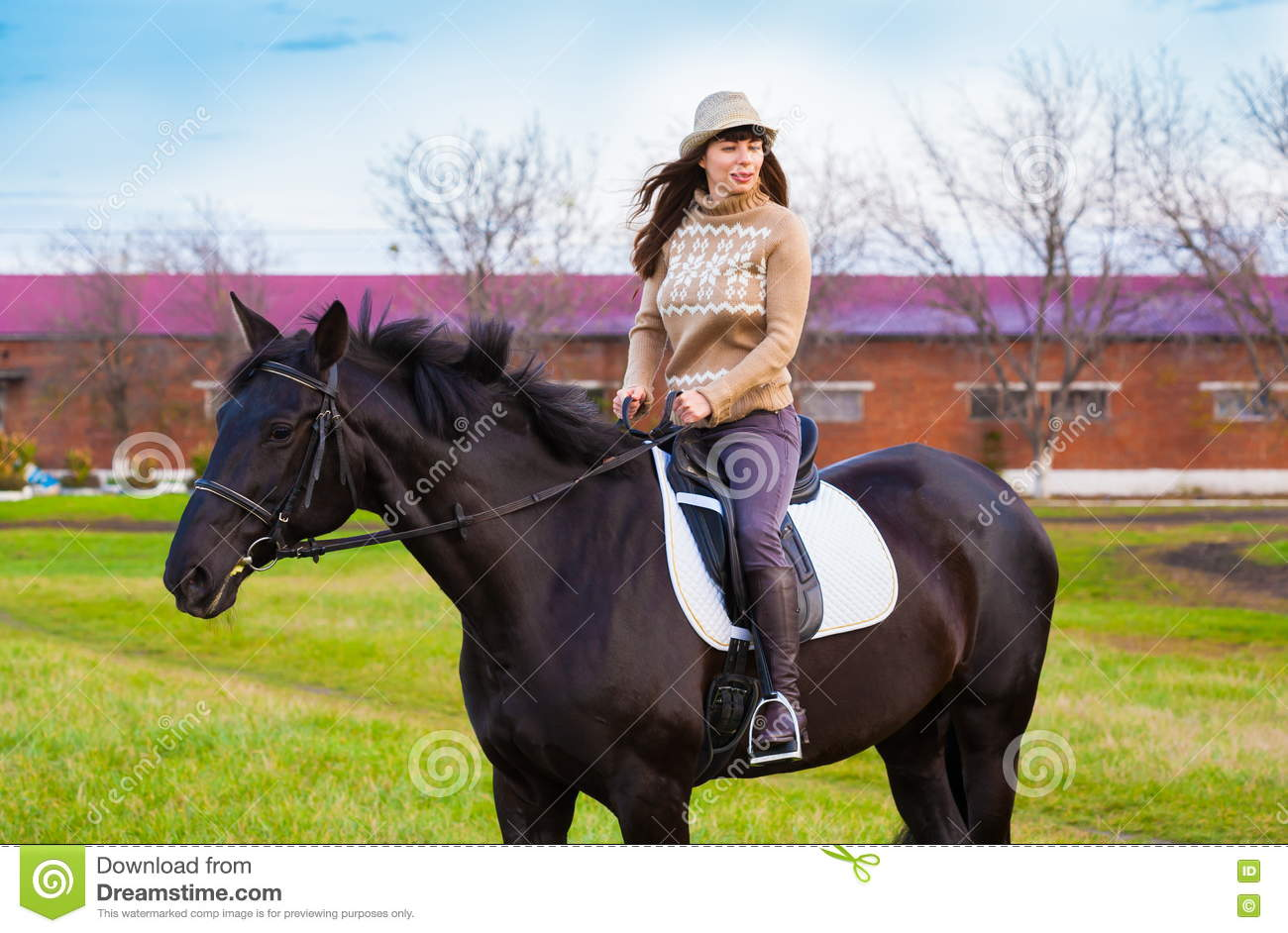Woman Riding Horse, Beige Pullover, Jeans, Hat, Close Up Stock Photo - Image Of Fresh -9229