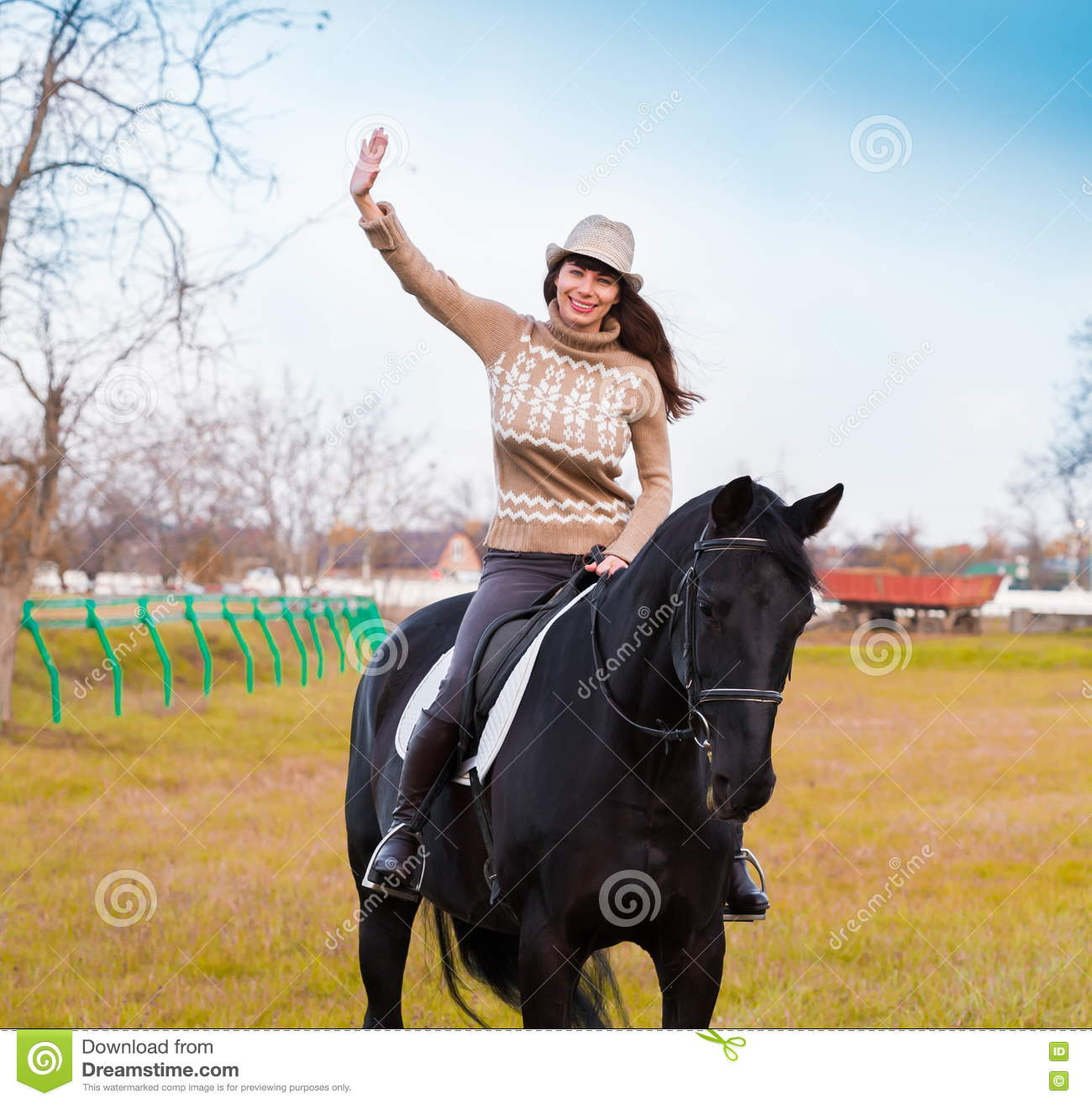 Woman Riding Horse, Beige Pullover, Jeans, Hat, Close Up Stock Image - Image Of -1554