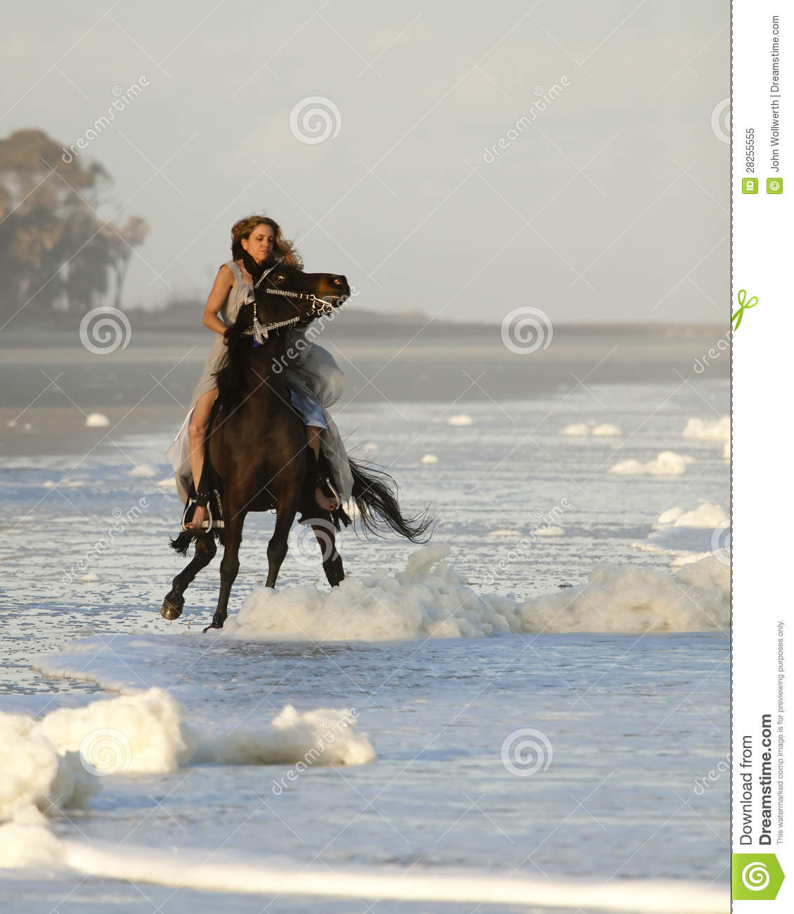 Woman Riding Wild Horse On Beach Stock Image Image Of