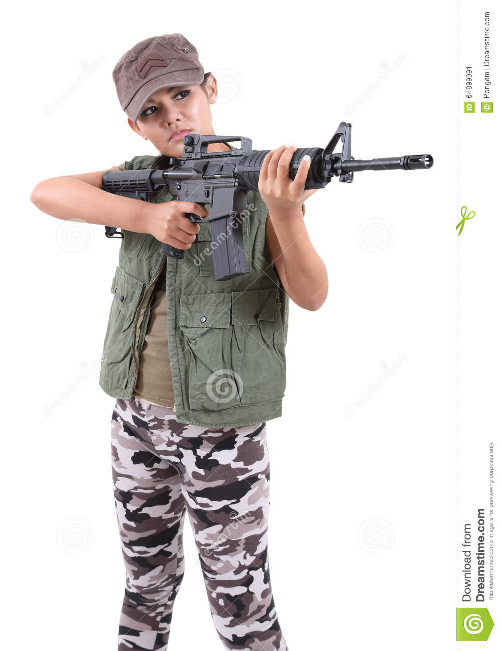 Woman and rifle