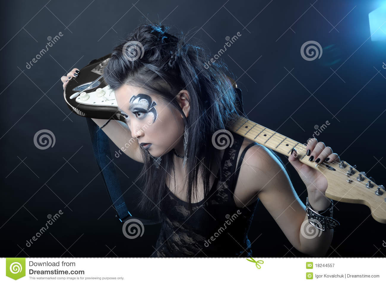 Woman rock with guitar