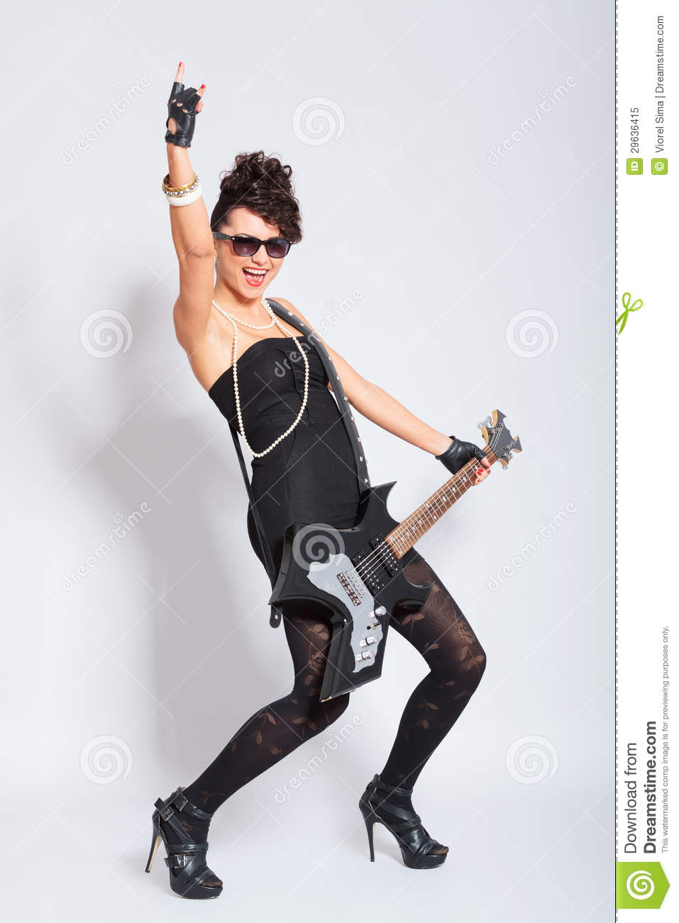 Woman rocking out royalty free stock photo image