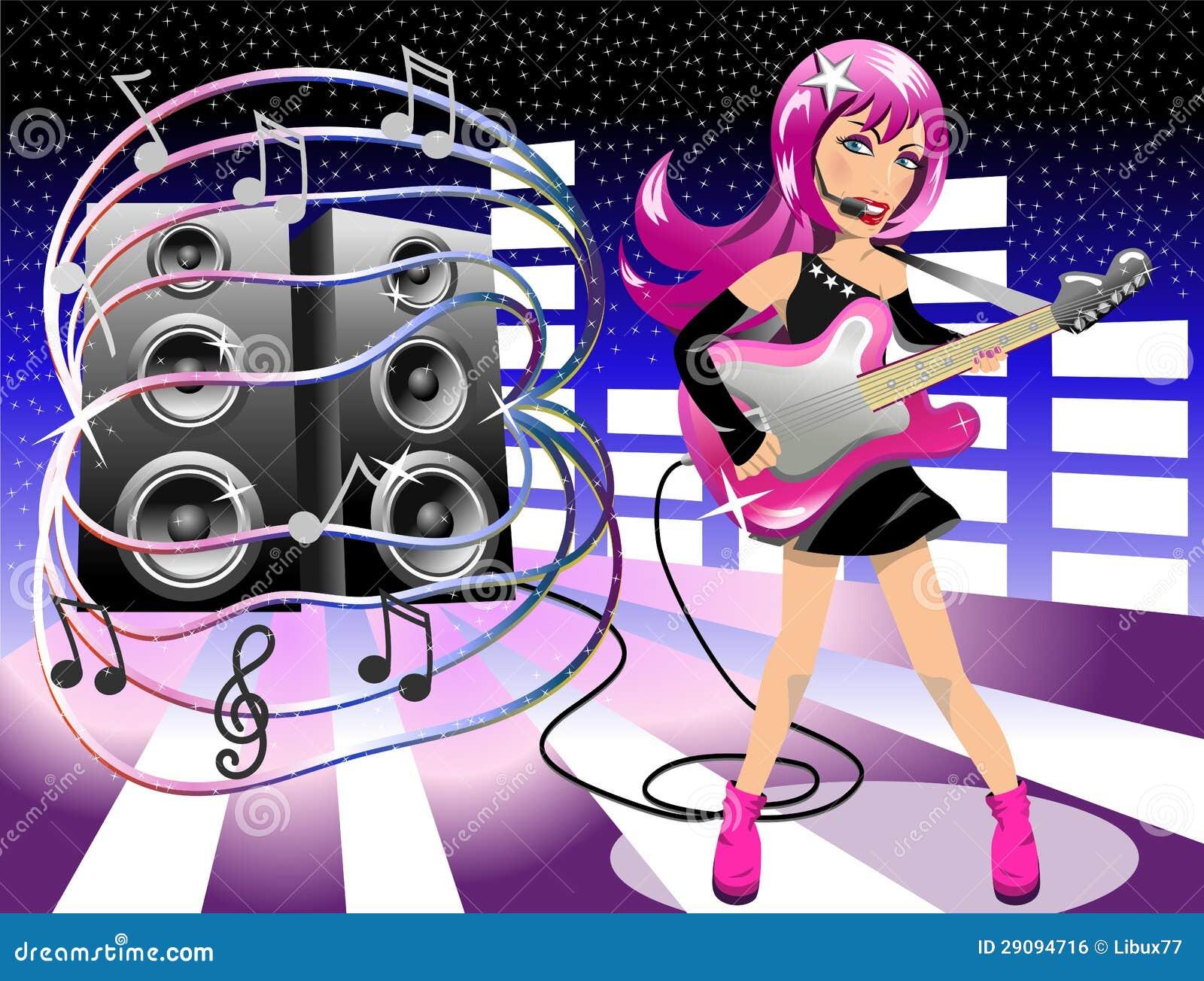 Woman Rockstar Performing Live