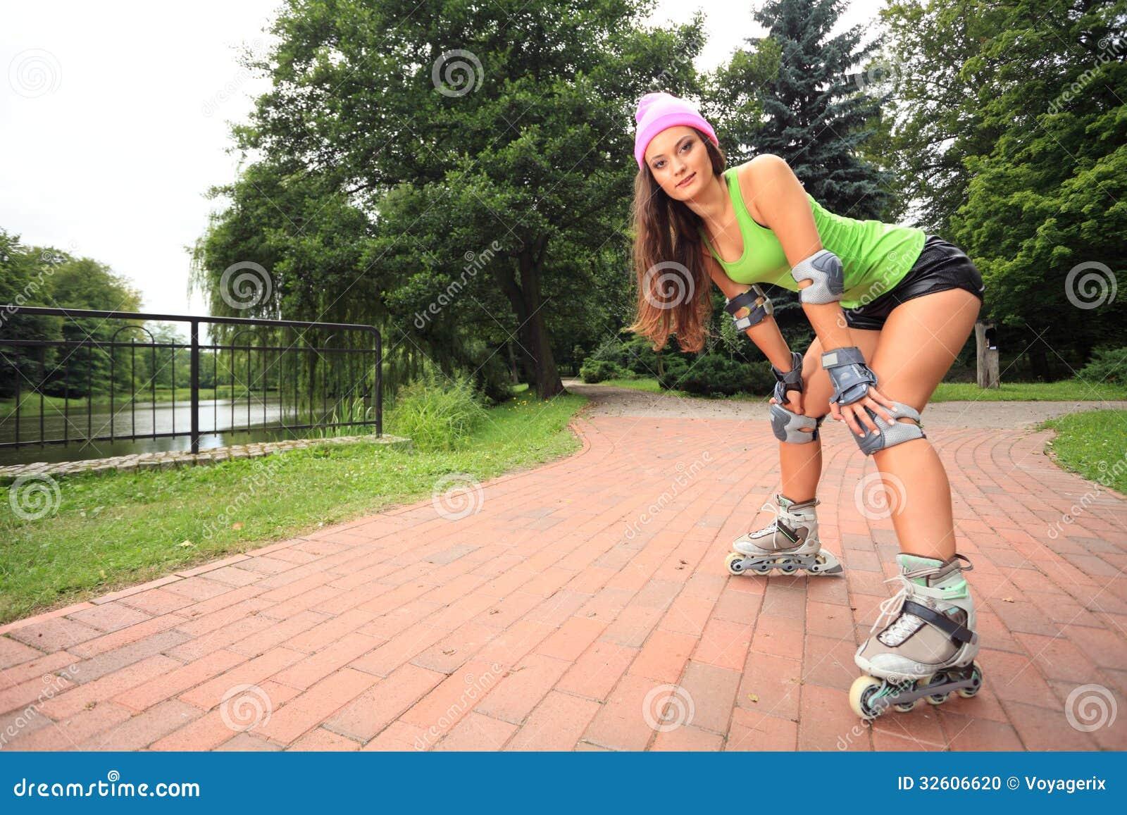 Woman Inline Skating Wiring Diagrams Simple Event Counter Circuit Diagram Tradeoficcom Roller Sport Activity In Park Stock Photo Hockey Cartoon