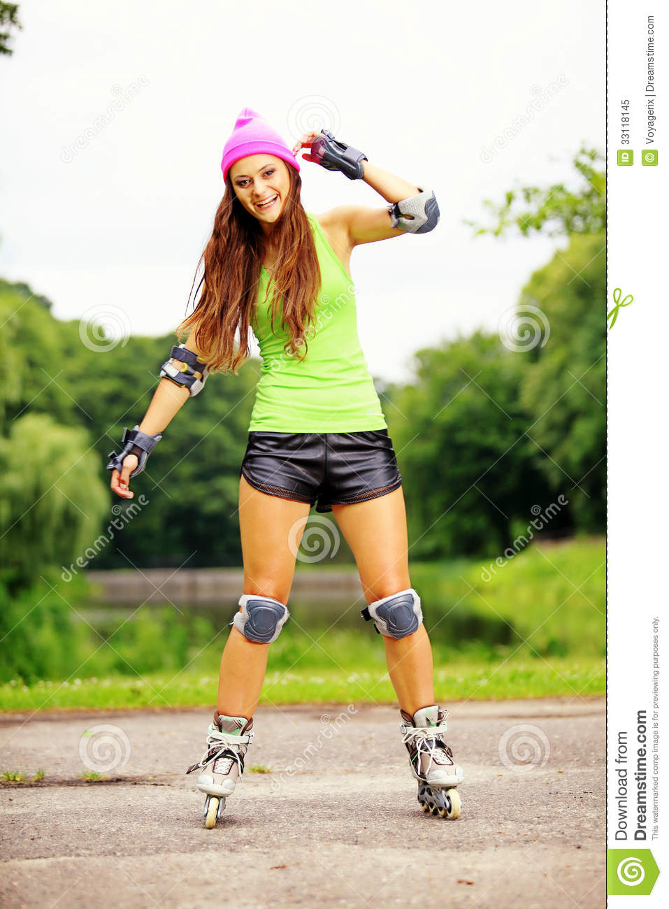 Woman Inline Skating Wiring Diagrams Simple Event Counter Circuit Diagram Tradeoficcom Roller Sport Activity In Park Royalty Free Women Pics Speed