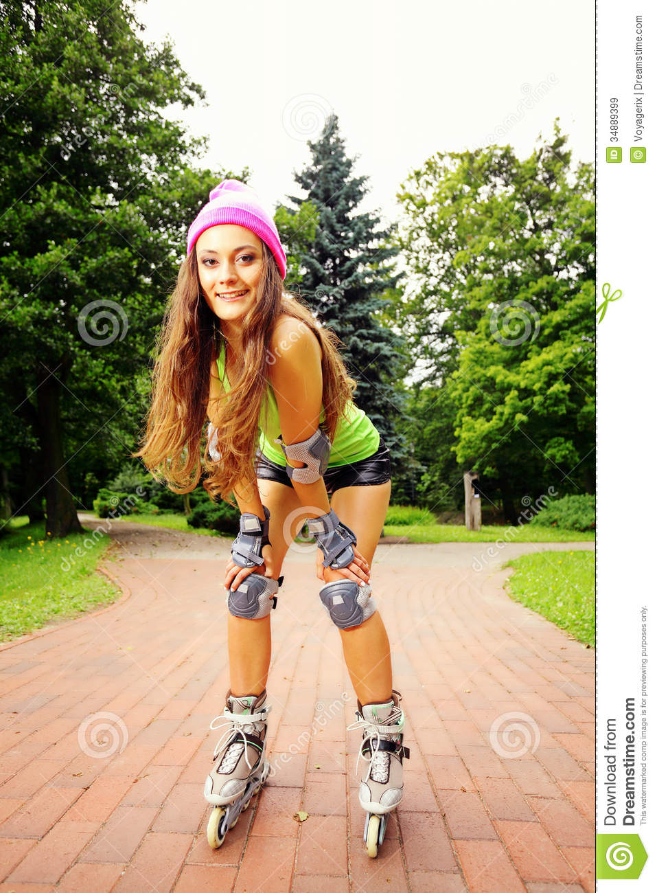 Woman Roller Skating Sport Activity In Park Royalty Free Stock Images ...