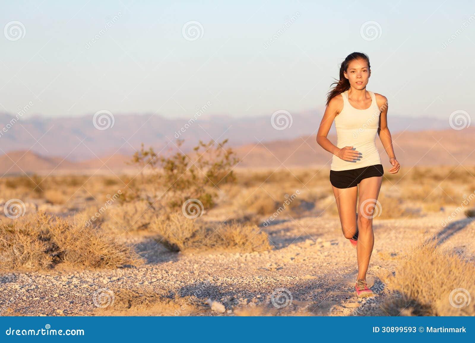 Woman Runner Running Cross Country Trail Run Stock Image - Image of  background, full: 30899593