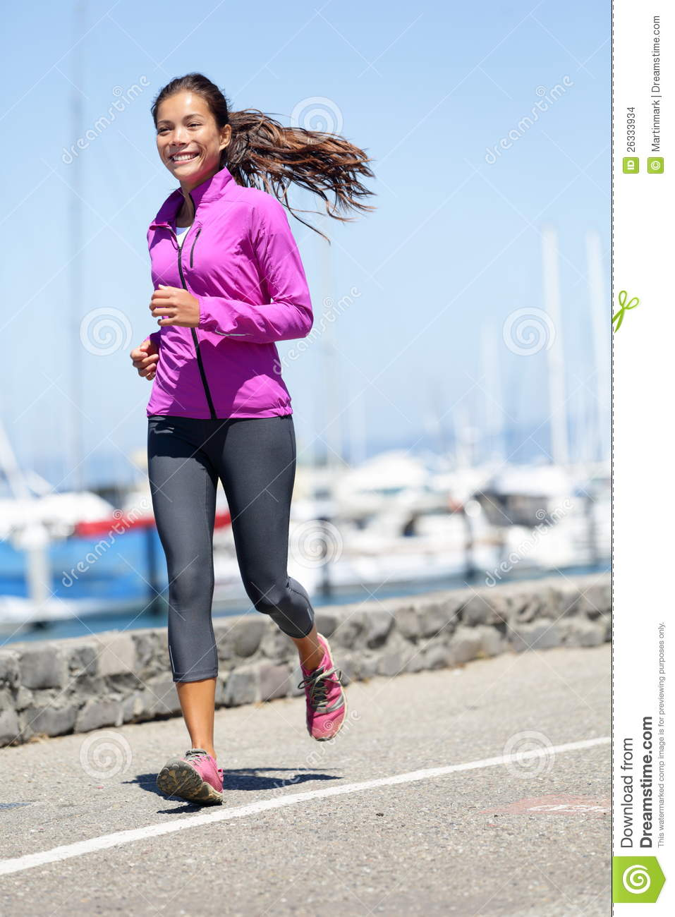 88ffd9993269 Woman running stock photo. Image of blue